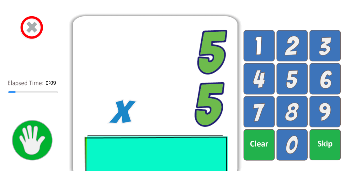 Play multiplication math facts in landscape mode with right handed configuration.