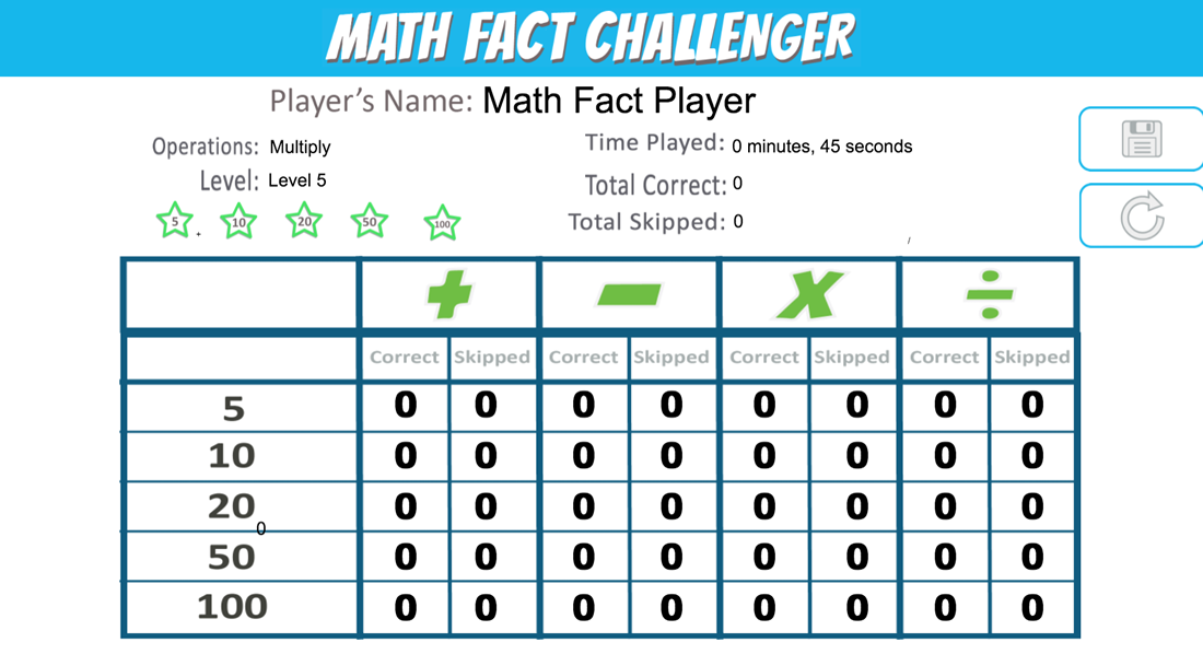 Play multiplication math facts in landscape mode with left handed configuration.